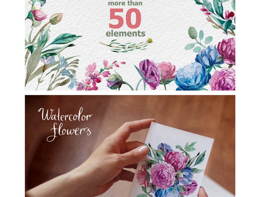 png)手绘图案水彩花卉花环水粉植物鲜花花朵产品图案