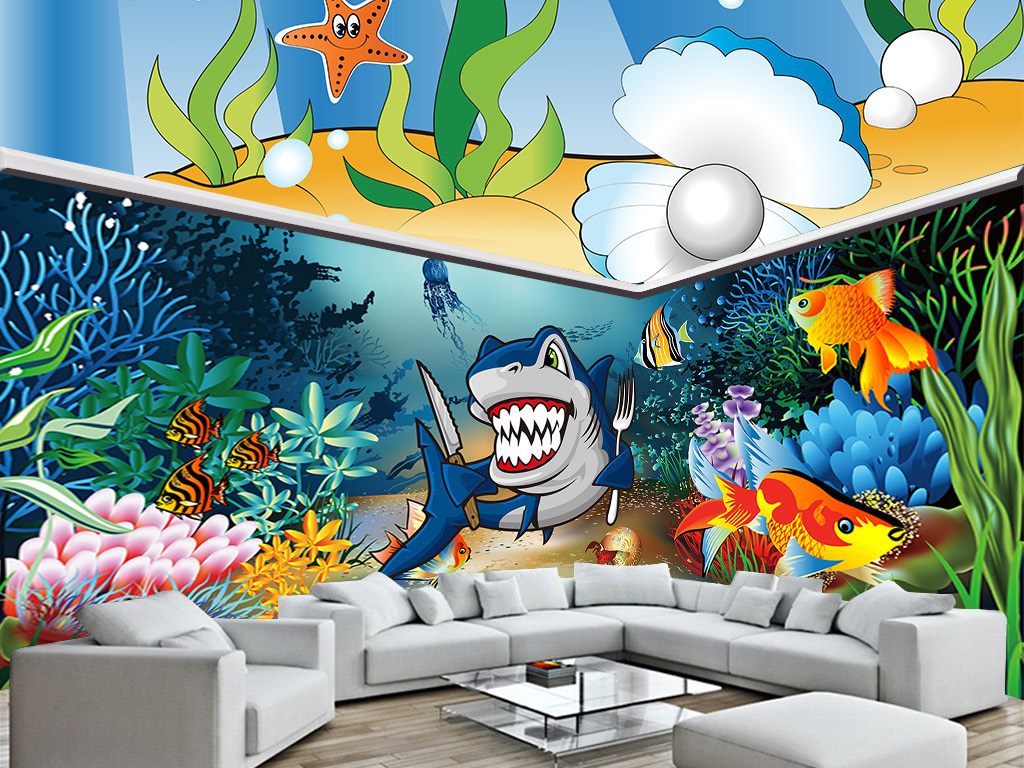 海底世界客厅沙发鲨鱼3d空间主题画背景墙