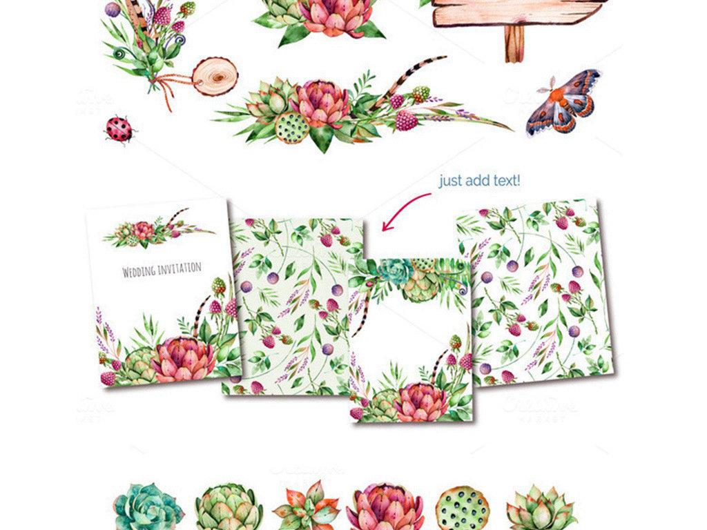水彩手绘多肉盆栽花艺植物png免扣素材