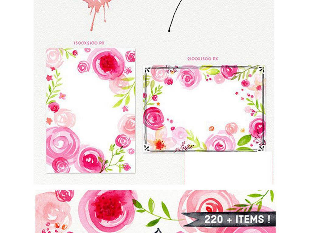 唯美手绘水粉玫瑰花朵背景花边png免扣素