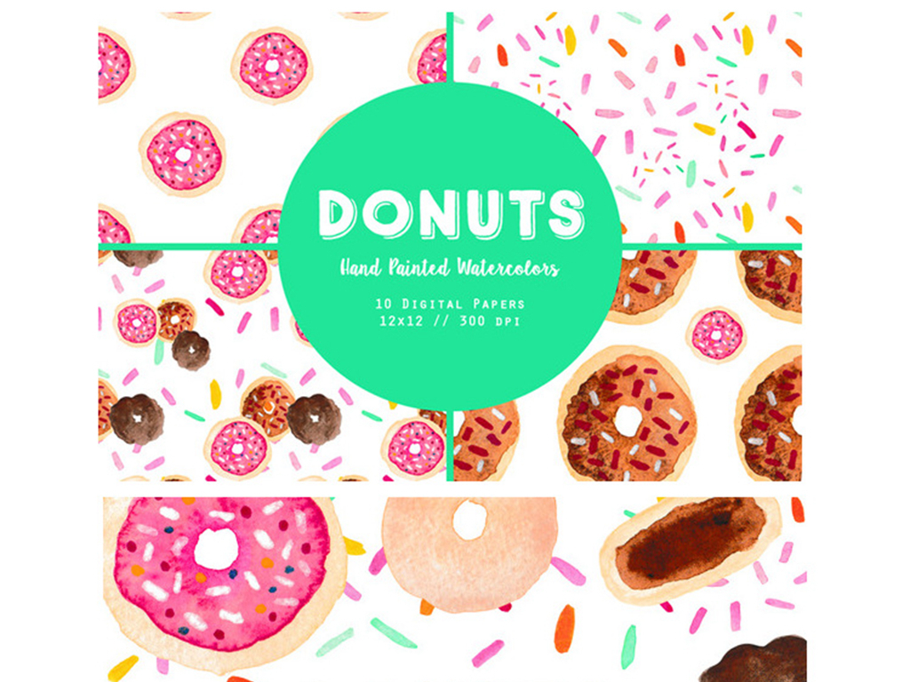 卡通手绘水彩水粉甜甜圈点糖果png素材