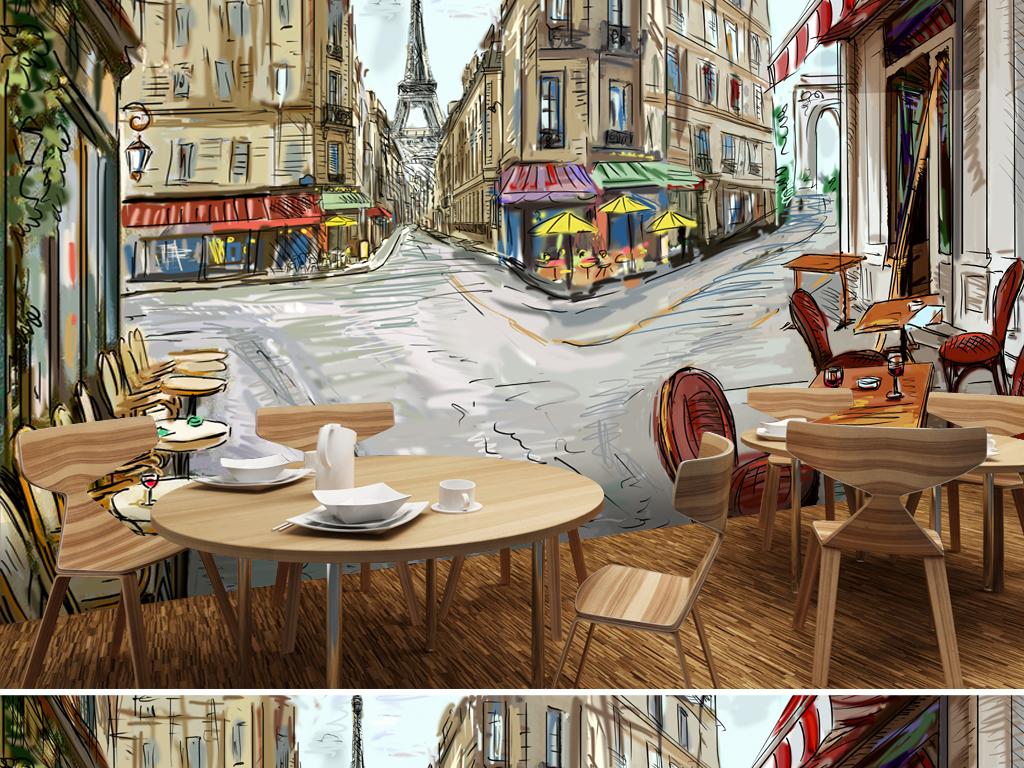 手绘欧美风欧式餐厅壁画酒吧背景电视背景墙图片玻璃电视背景墙图片