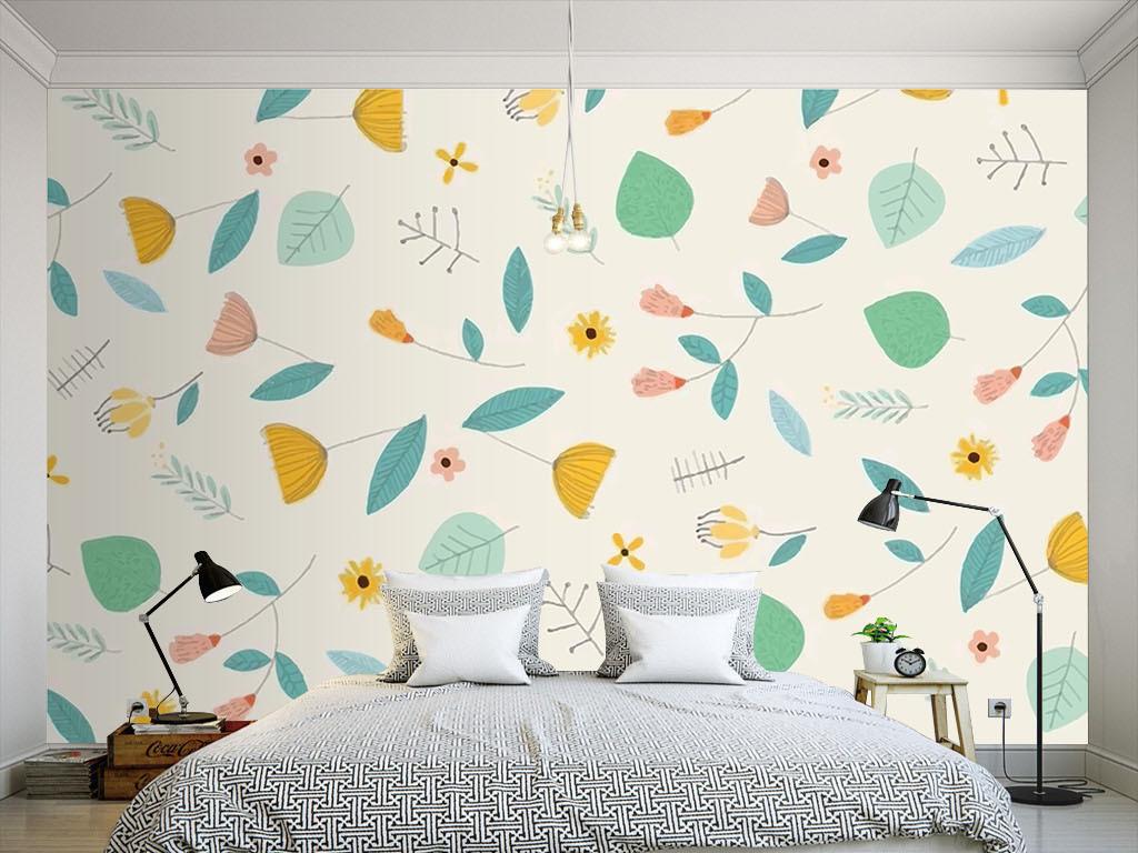 现代简约手绘墙纸