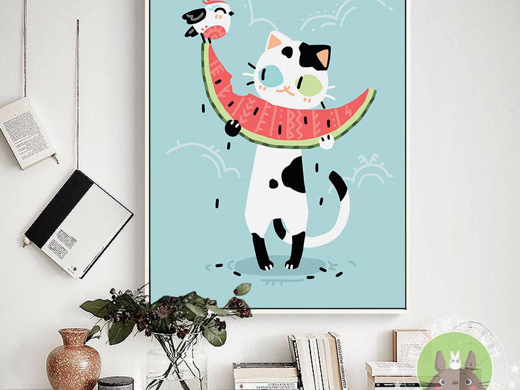 吃西瓜卡通小猫装饰画(图片编号:15645606)_动物图案