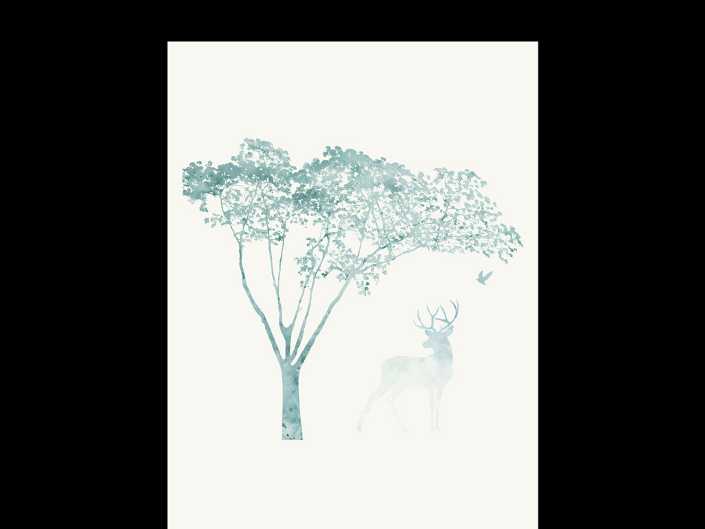 森系鹿角小女孩手绘