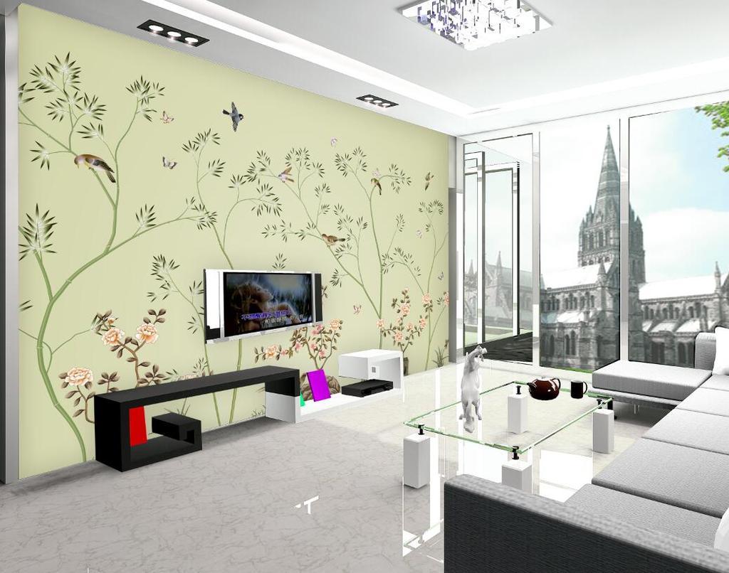 背景墙|装饰画 电视背景墙 手绘电视背景墙 > 超大尺寸手绘花鸟图壁纸