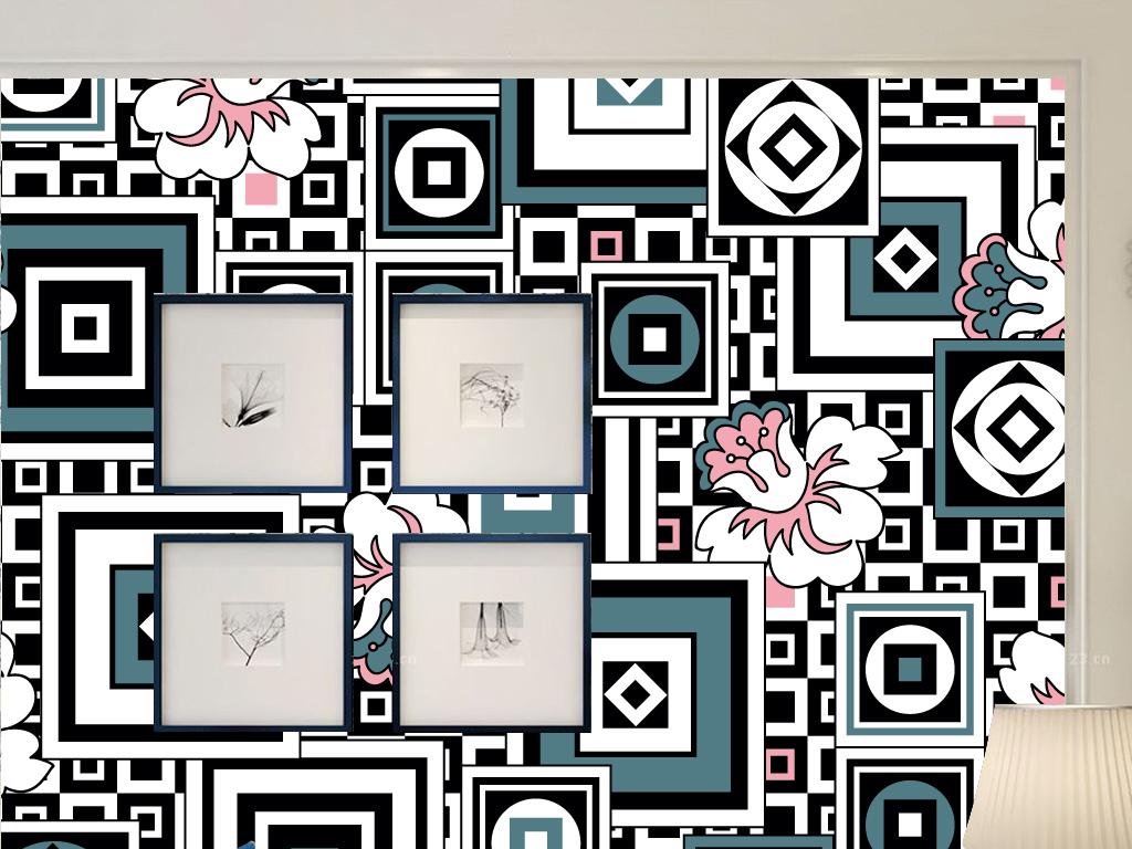 唯美手绘花瓣框框欧式墙纸背景墙
