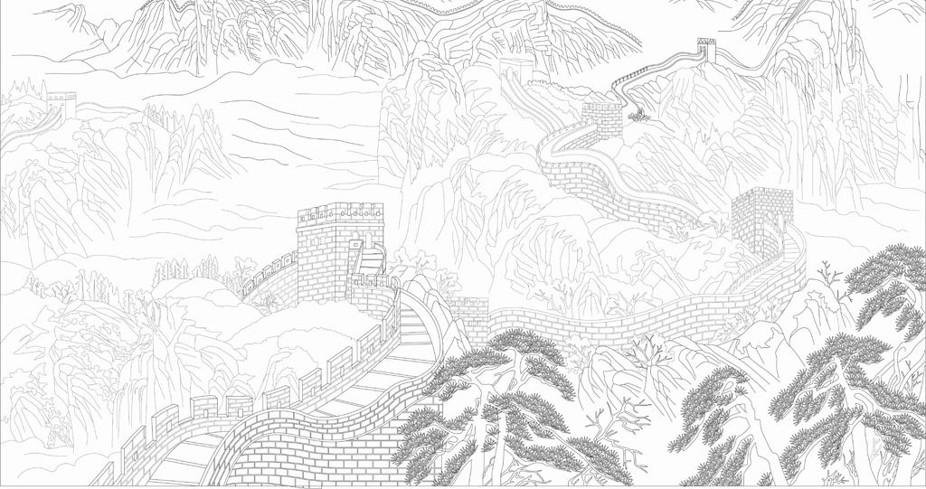 万里长城山水画 15646479 雕刻图案