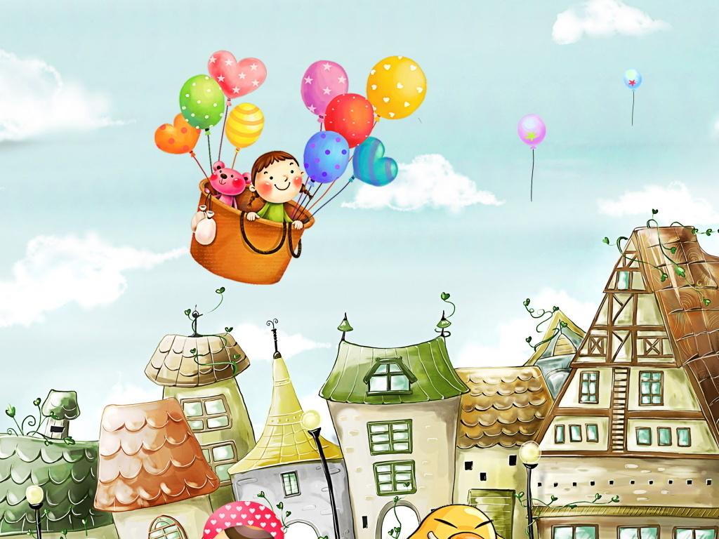 简约小清新儿童手绘画郊外房屋热气球海报