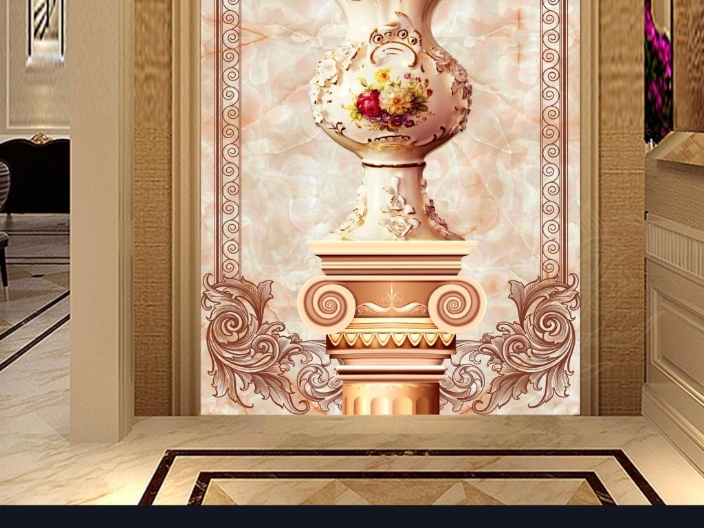 立体3d玉石郁金香花瓶罗马柱壁画玄关图片