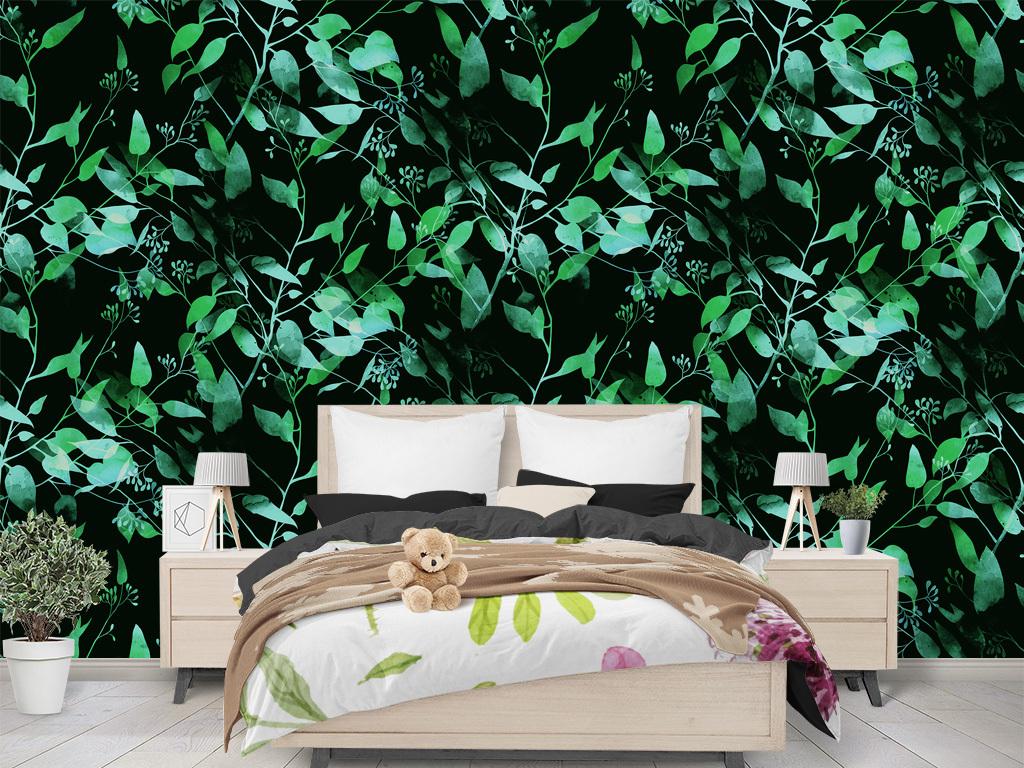黑色复古绿叶墙纸欧洲风格北欧森林墙纸绿叶