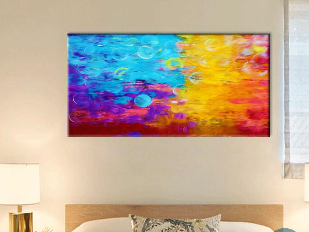 现实与虚幻人间冷暖对比色抽象派现代背景墙