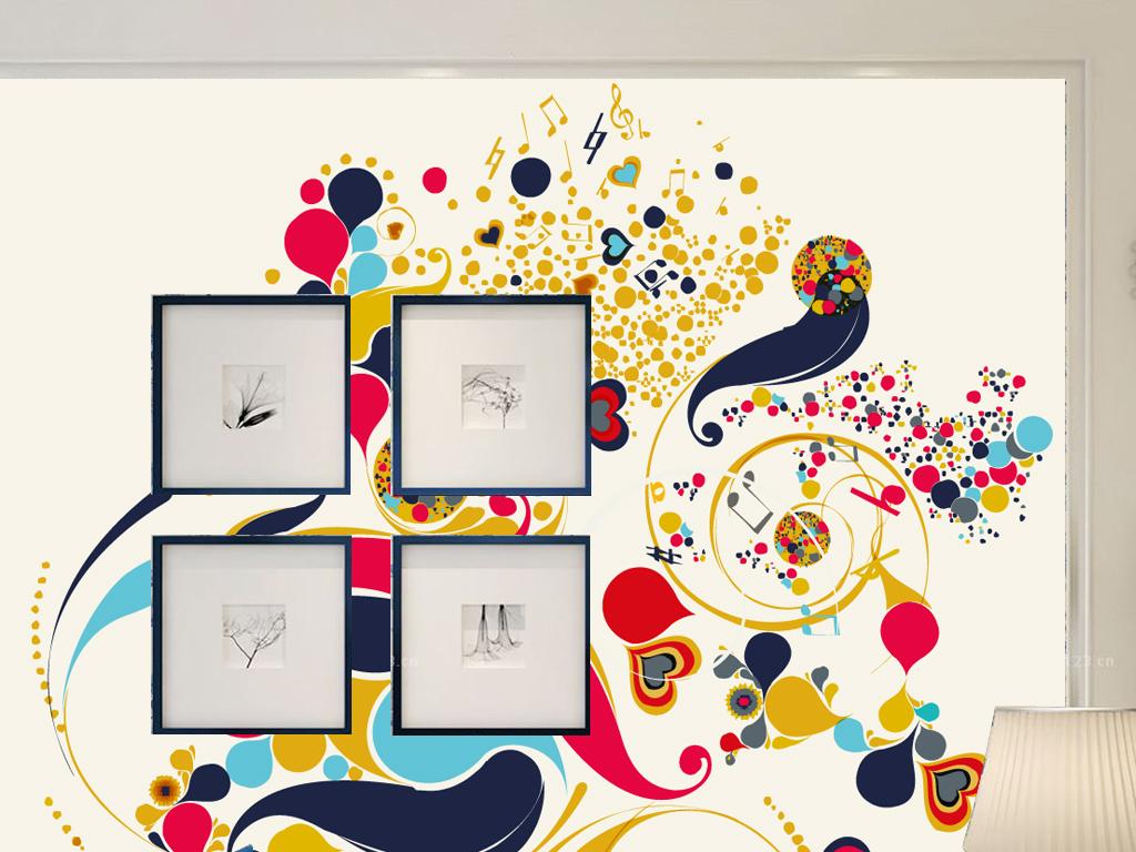 花鸟音符彩绘墙纸背景墙