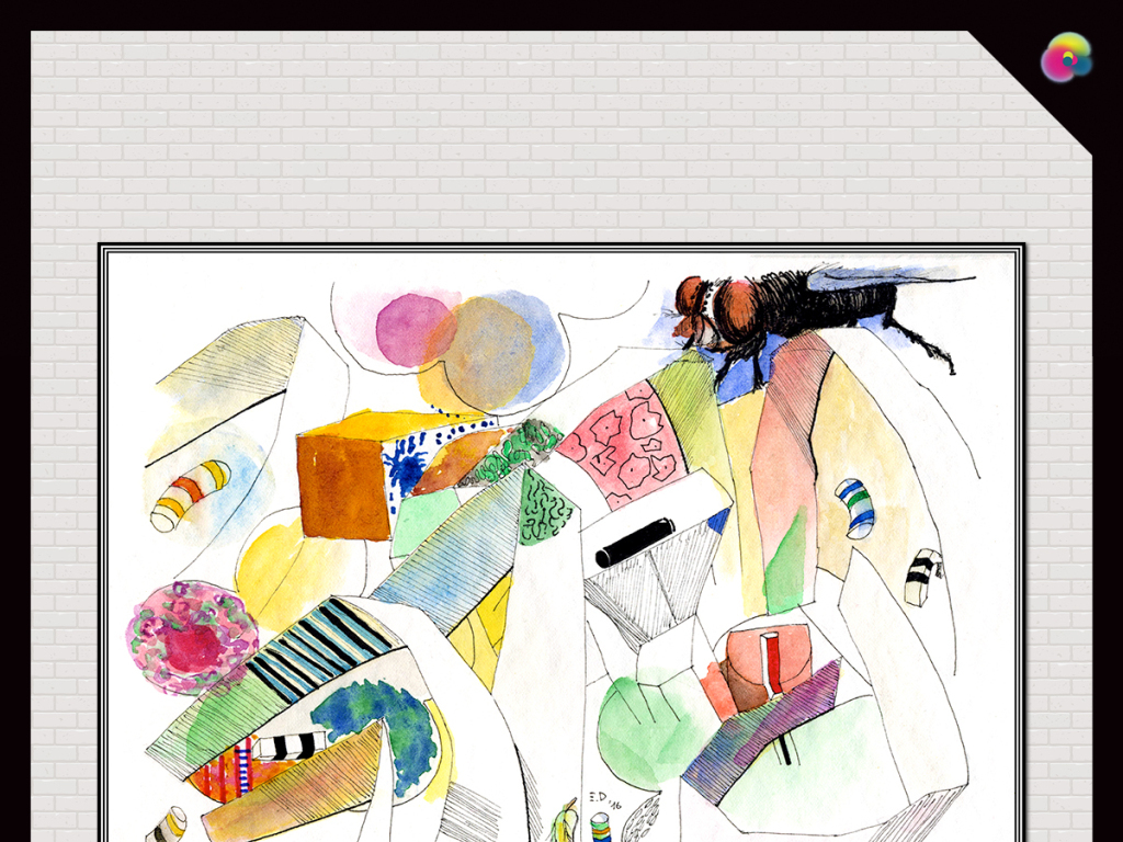 北欧现代简约手绘抽象线条油画无框画