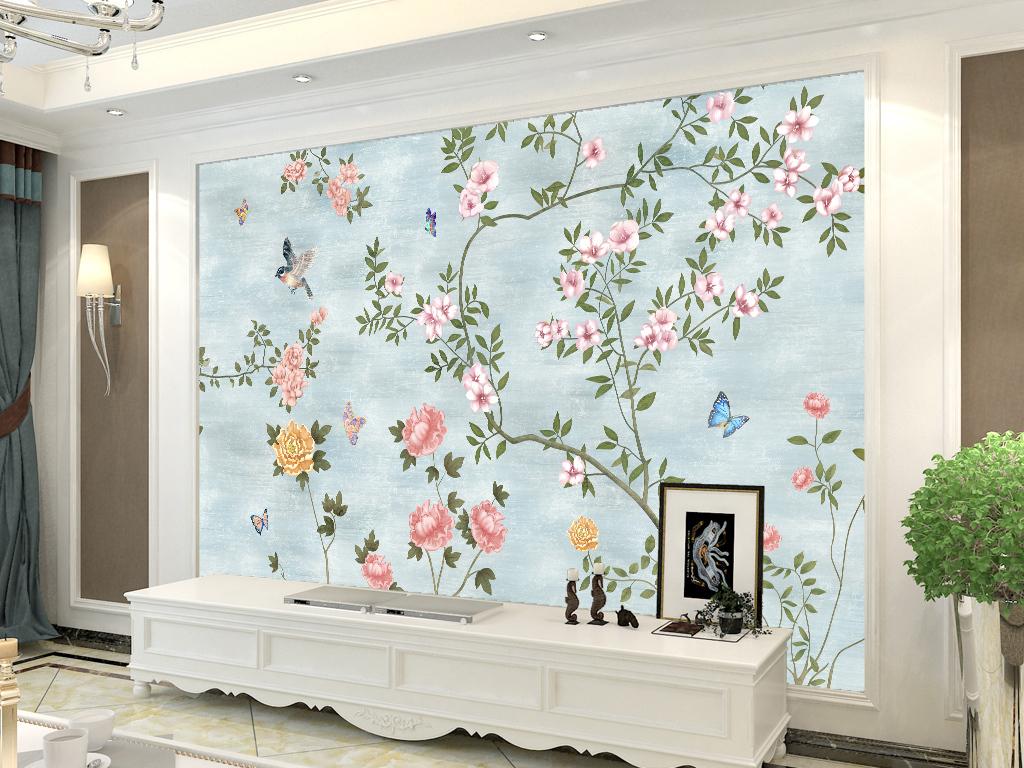 北欧手绘花纹花鸟图背景墙壁画图片设计素材_高清psd