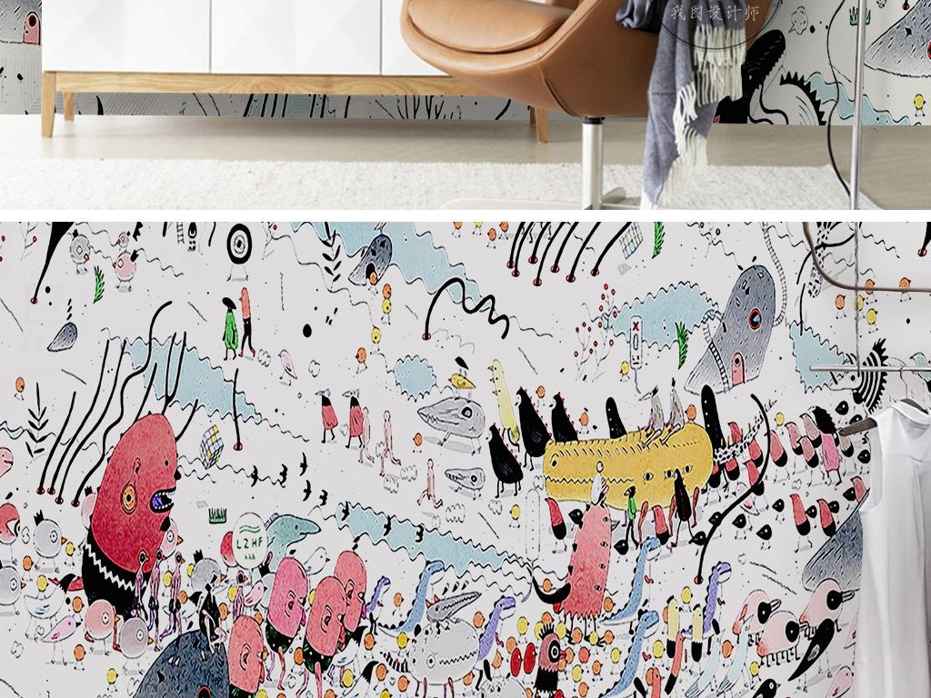 现代简约卡通手绘动漫药丸小鸡儿童房背景墙