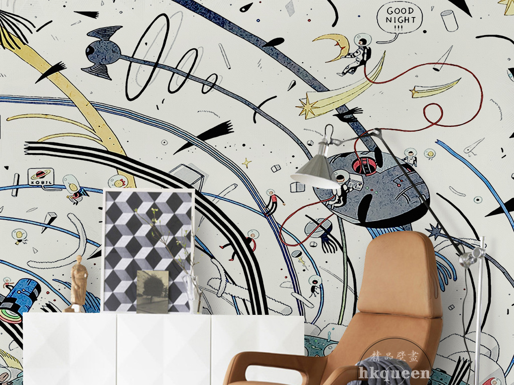 手绘卡通太空旅游宇宙飞碟创意儿童房背景墙