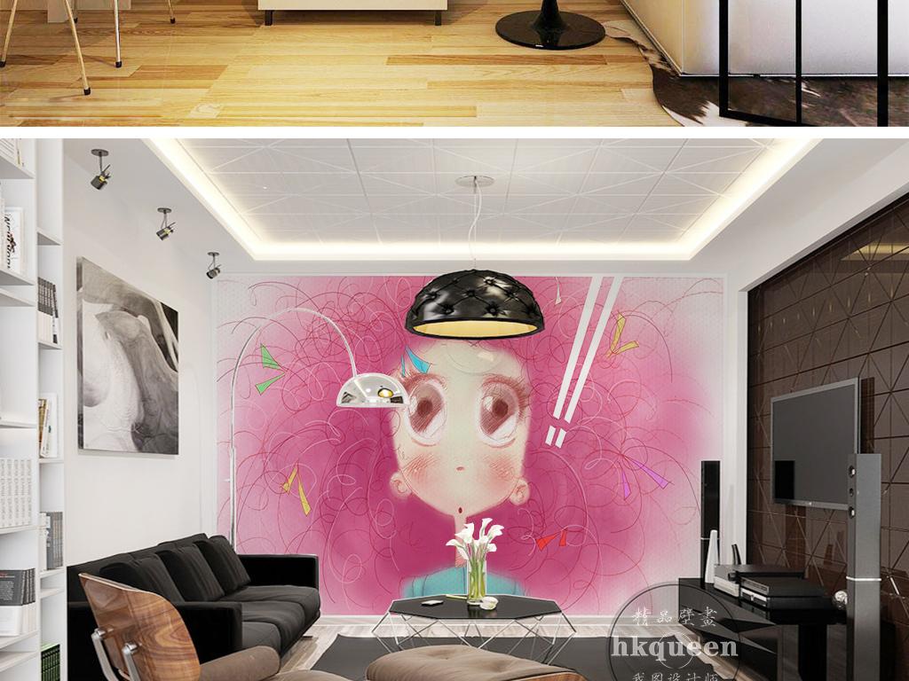 粉色头发卡通手绘小女孩可爱儿童房背景墙