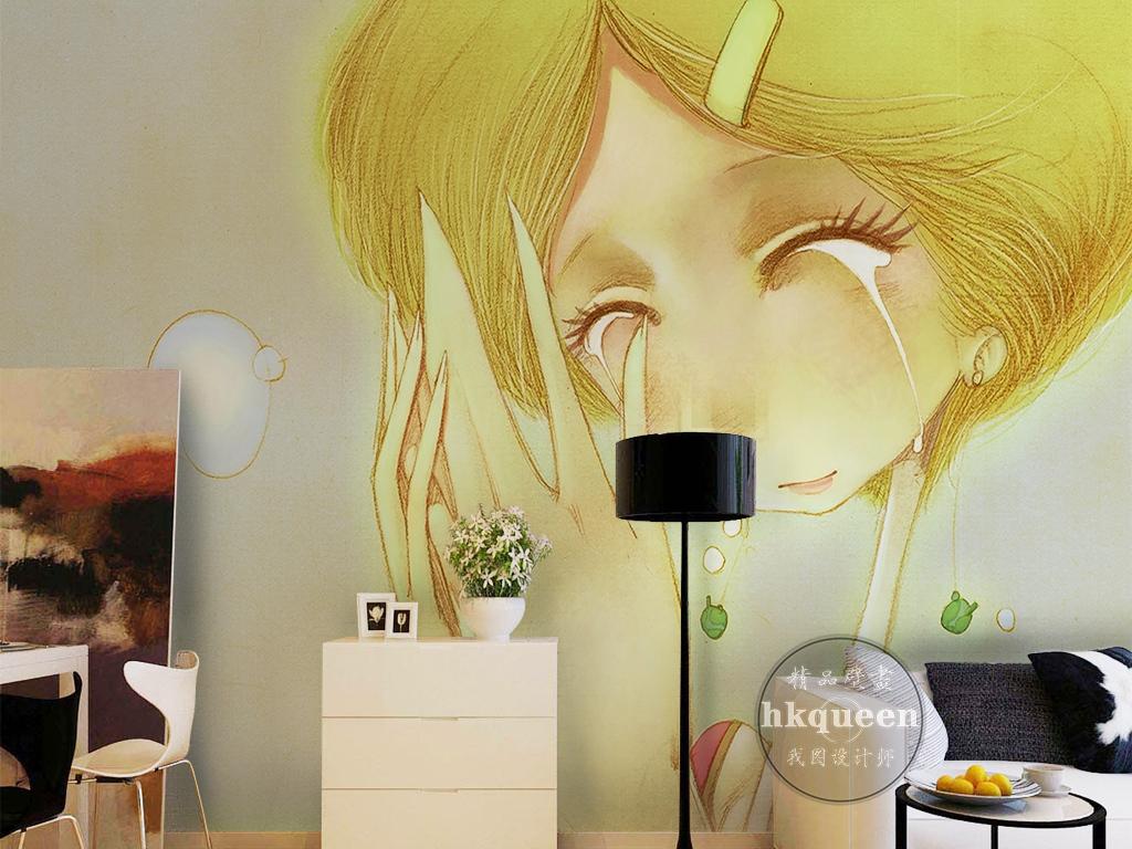 背景墙|装饰画 电视背景墙 手绘电视背景墙 > 金色头发性感美女卡通