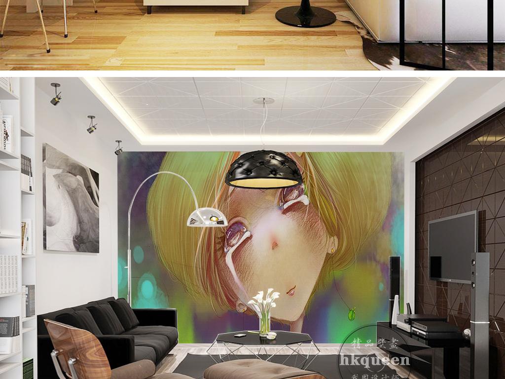 手绘卡通流眼泪金发美女抽象人物背景墙