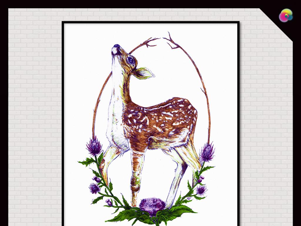 麋鹿                                  抽象素描手绘动物装饰画欧式