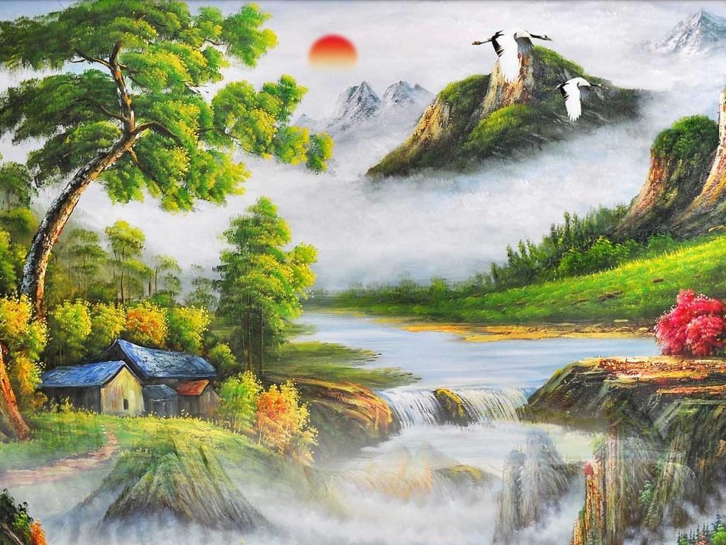 油画风景山水油画玄关