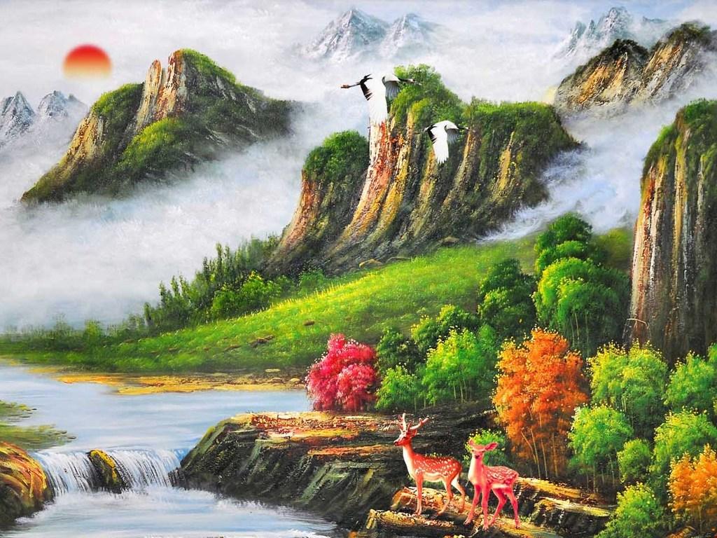 油画风景山水油画