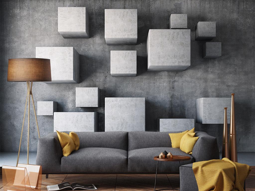 背景墙 电视背景墙 3d电视背景墙 > 3d立体北欧风格简约高级灰背景图片