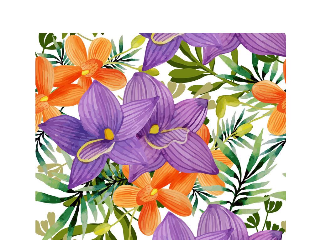 水彩手绘花草矢量墙纸