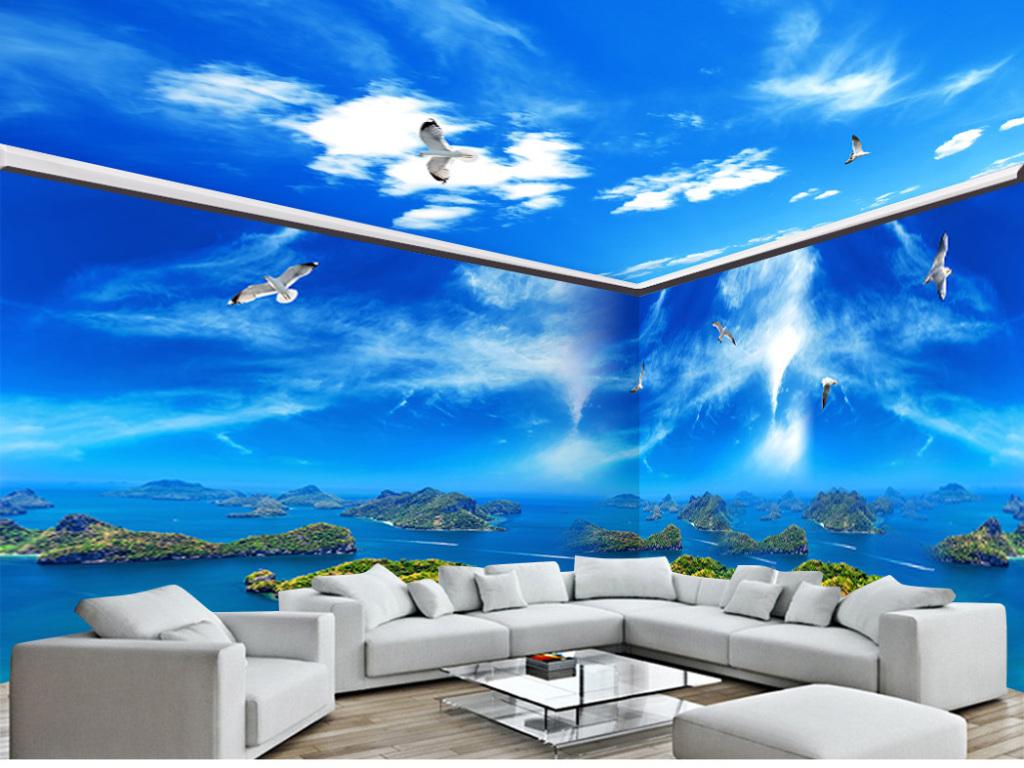 海岛蓝天白云全屋主题空间背景墙