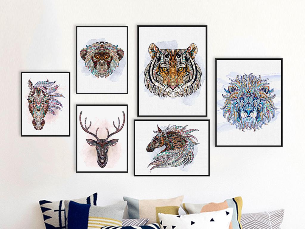 装饰画组合画动物童话画动物的画动物艺术画动物猪画动物黑白画卡通