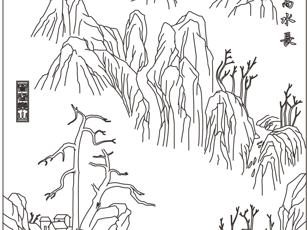 白描线条图国画山水画风景画cdr格式cdr矢量图cdr源文件cdr名片模版cd