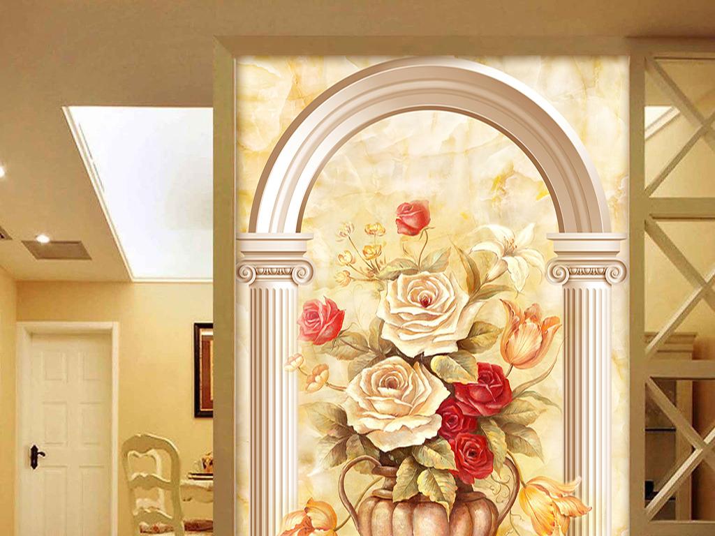 欧式玄关油画背景墙图片