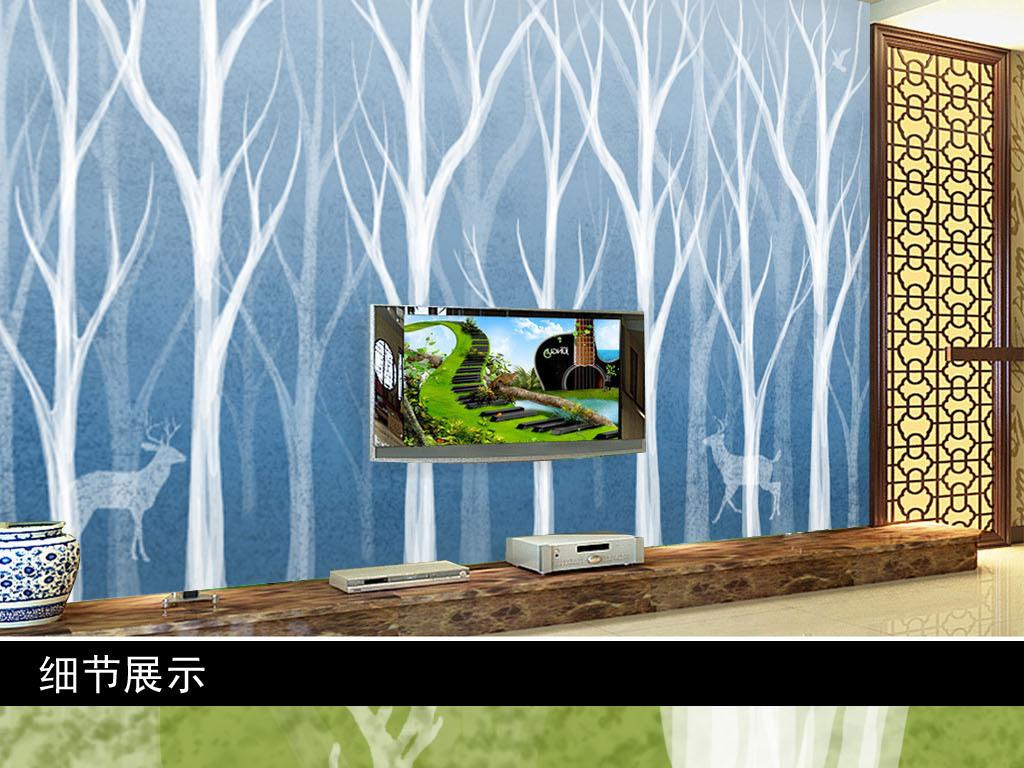 背景墙 电视背景墙 欧式电视背景墙 > 纯手绘森林鹿风景画背景墙