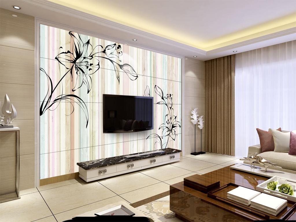 彩色木条线条花纹背景墙图片