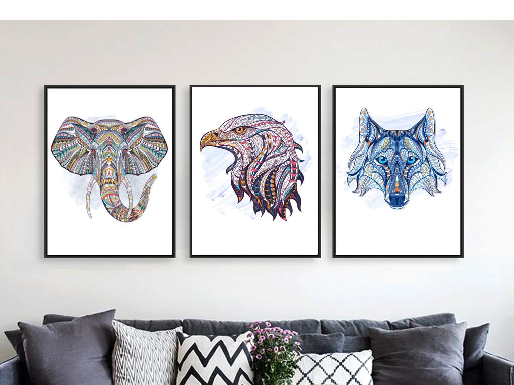 背景墙|装饰画 无框画 动物图案无框画 > 线描动物色彩矢量图图案