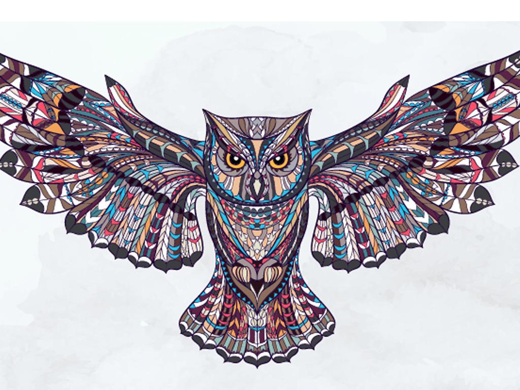 线描动物色彩矢量图图案