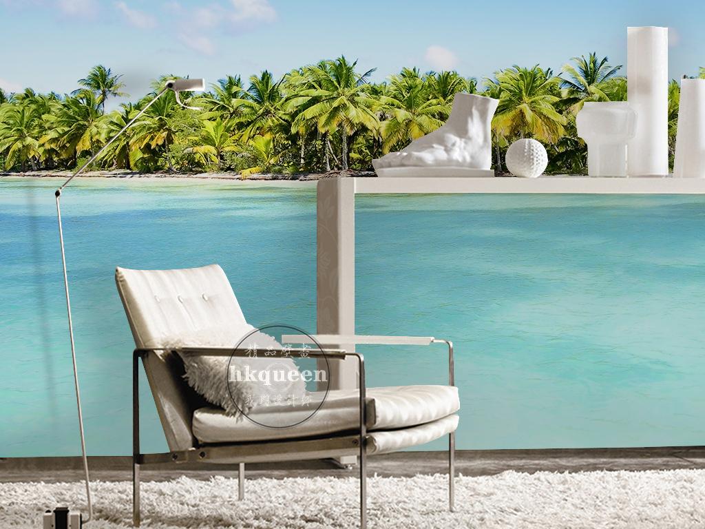 现代简约大气海水海岛香蕉树唯美风景背景墙