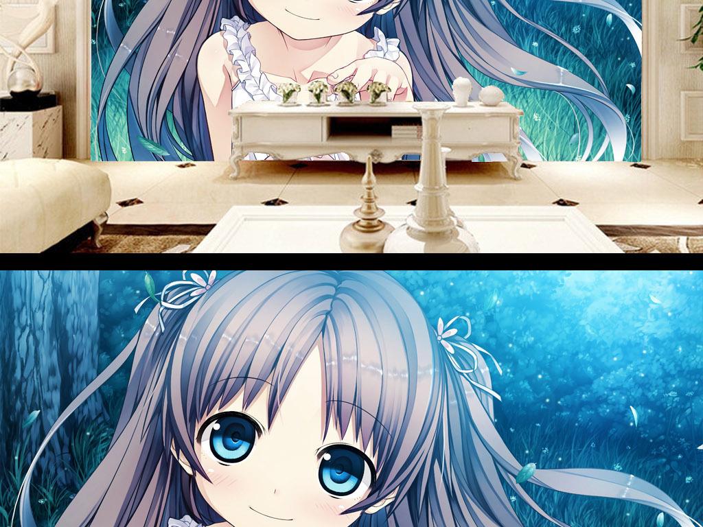 可爱萌日韩手绘二次元治愈系动漫少女背景墙