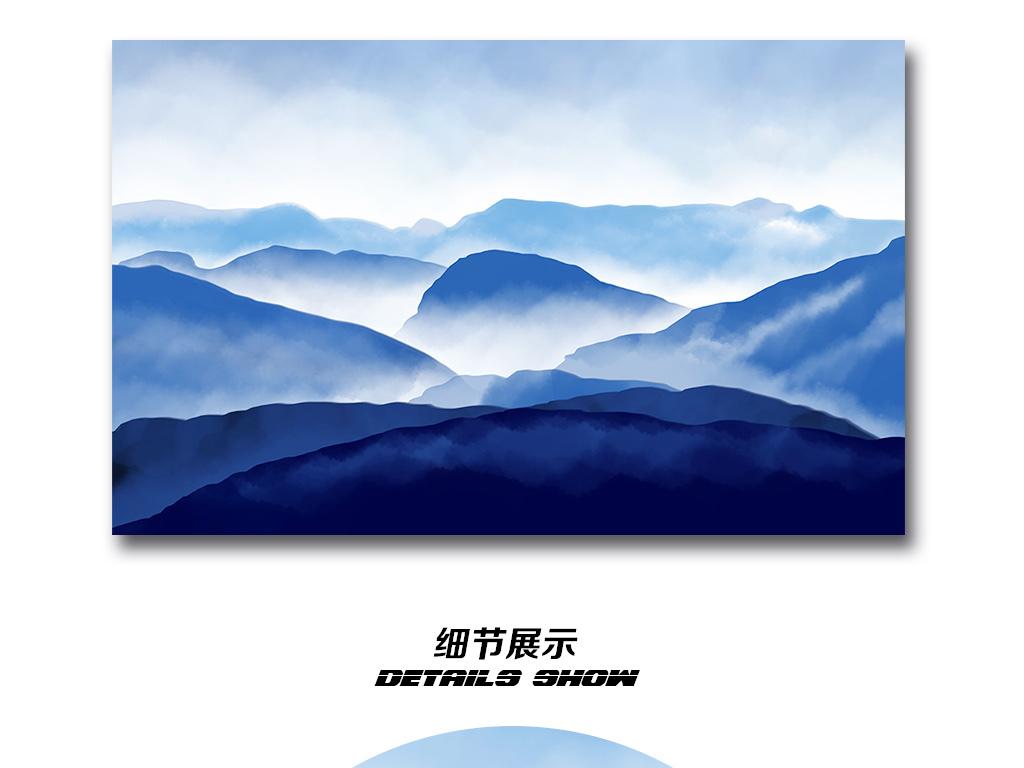 手绘山水画现代简约电视背景墙装饰画