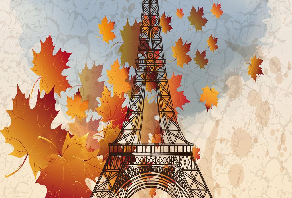 现代唯美巴黎铁塔油画装饰画