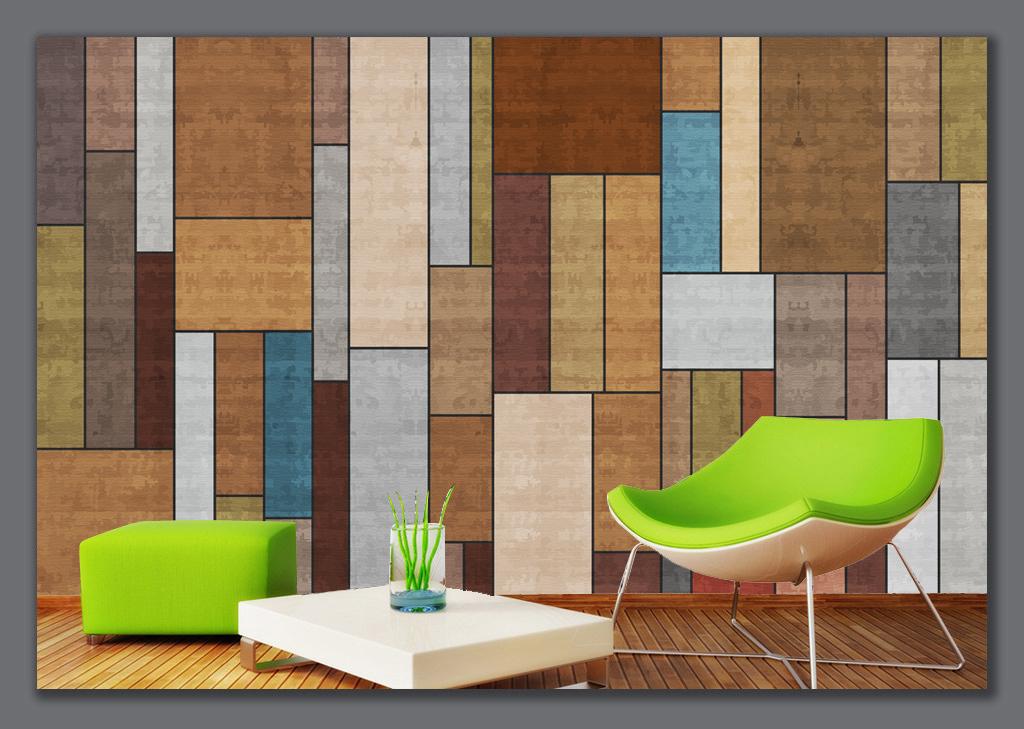 欧美时尚布纹木板电视背景墙图片