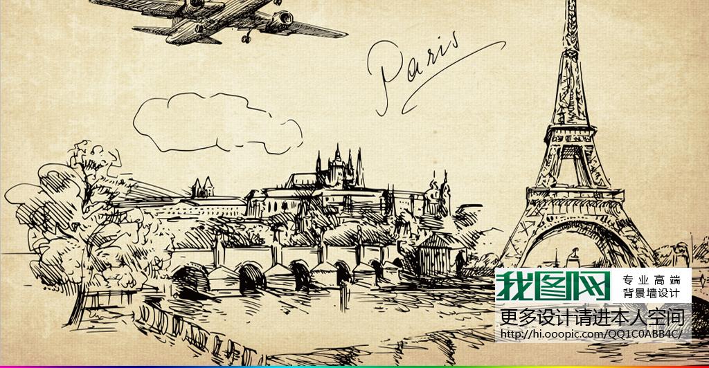 复古怀旧城市街景街角素描手绘咖啡厅背景墙