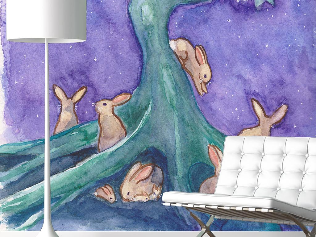 现代手绘水彩兔子大树玄关背景墙