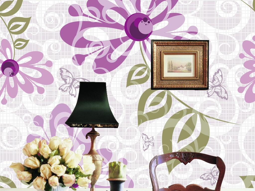 设计作品简介: 唯美淡雅手绘花纹时尚墙纸背景墙 矢量图, cmyk格式