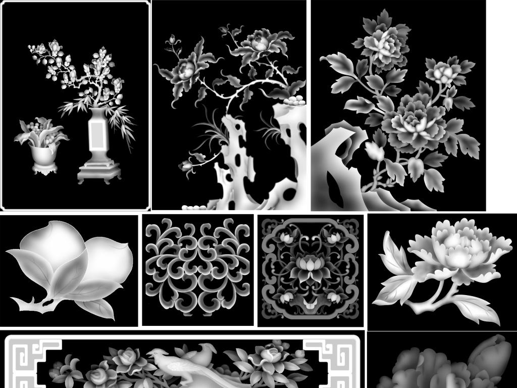 精雕花卉花瓶jdp灰度图(图片编号:15655913)_雕刻图案