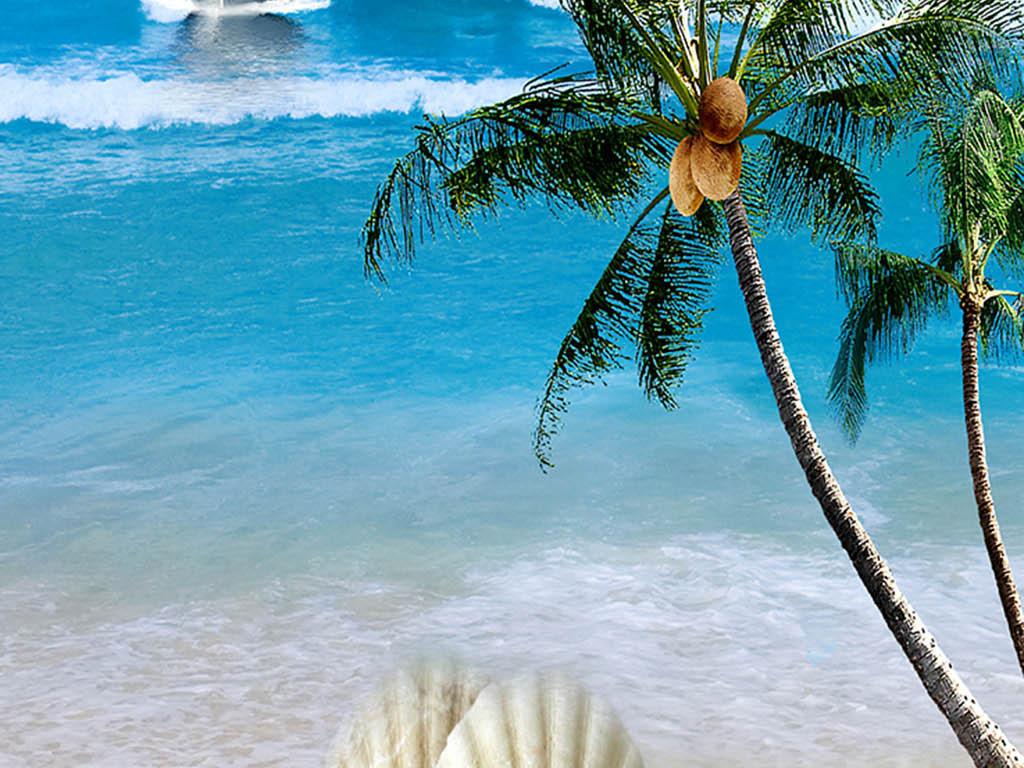 海边大海帆船椰树贝壳海鸥蓝天白云