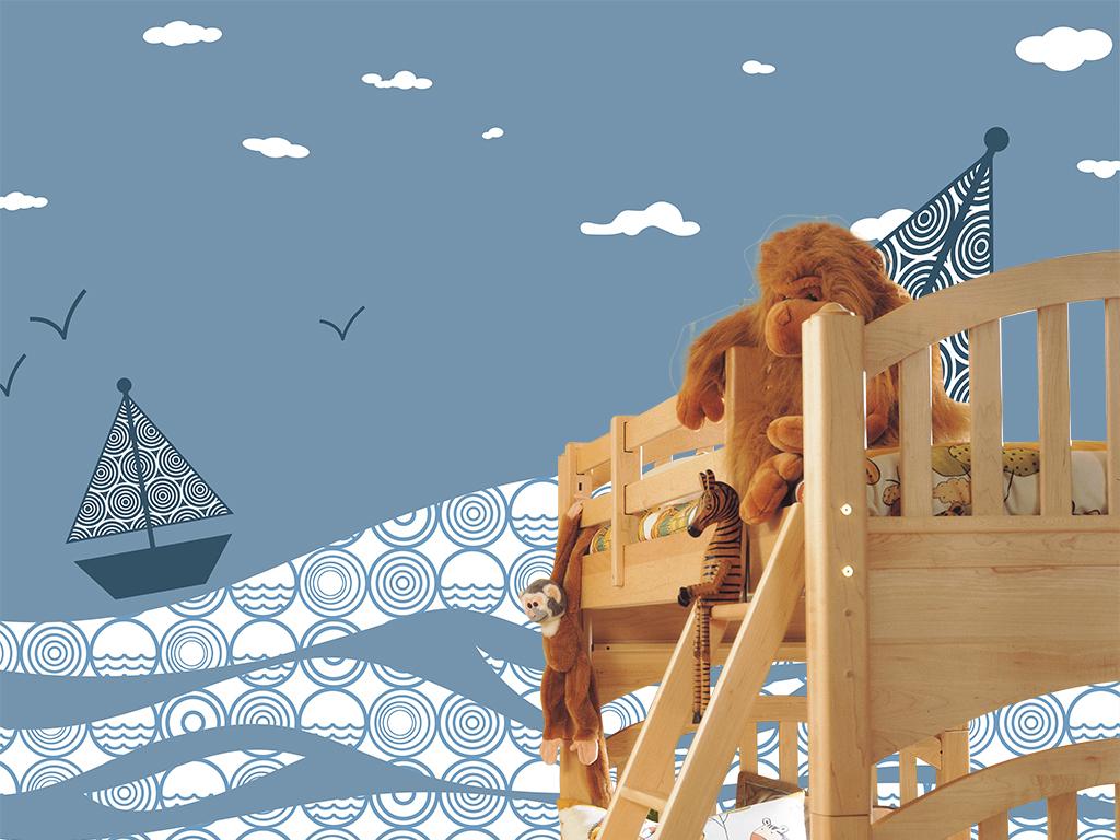 背景墙|装饰画 壁画 手绘壁画 > 蓝色背景帆船水纹儿童房背景墙  版权