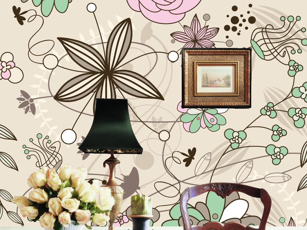 背景墙|装饰画 墙纸 现代简约墙纸 > 手绘花纹时尚矢量墙纸背景墙