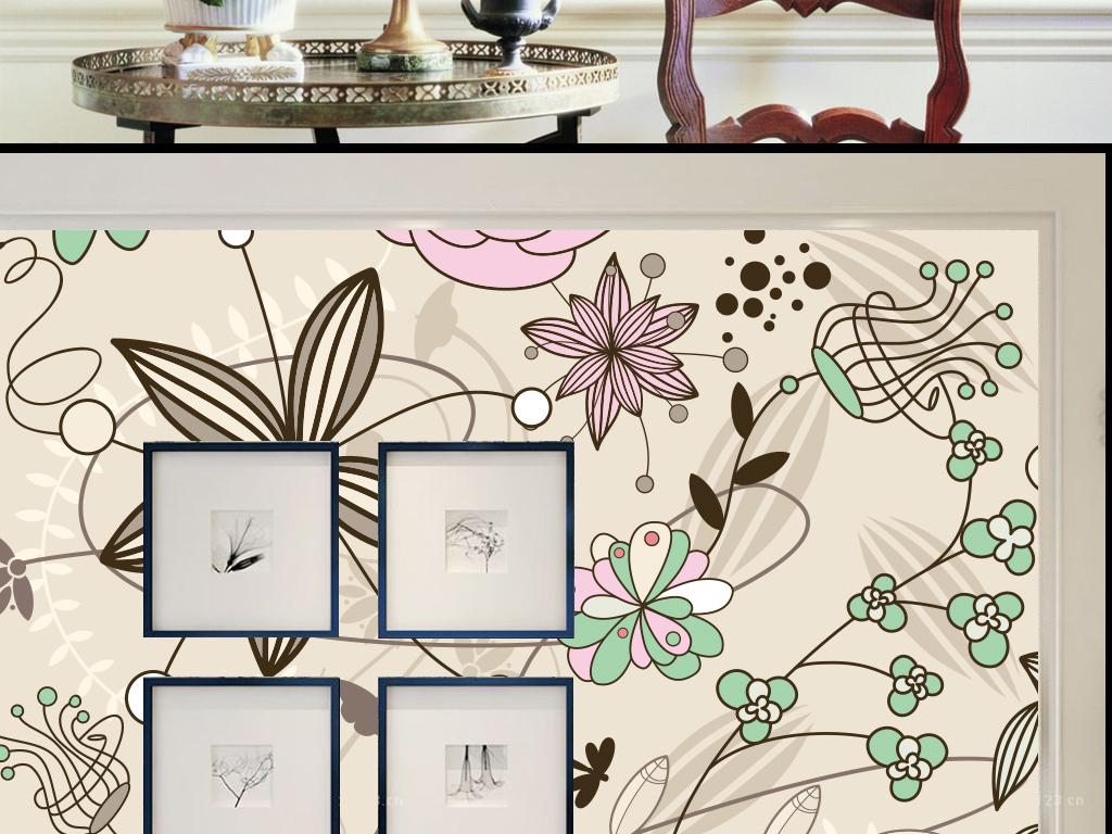 手绘花纹时尚矢量墙纸背景墙